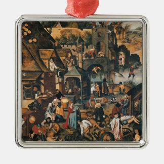 Flemish Proverbs Silver-Colored Square Decoration