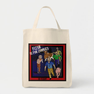Flesh is for zombies grocery tote bag
