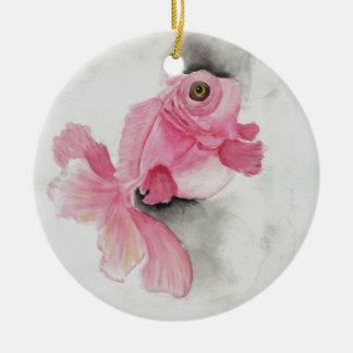 Flesh Moor - Pink Goldfish Watercolor Painting Round Ceramic Decoration