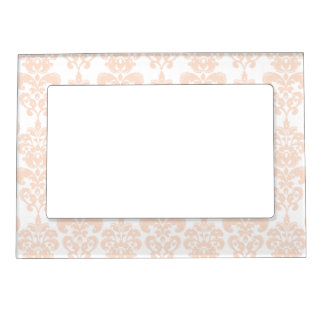 FLESH PINK GIRLY DAMASK PATTERN 2 MAGNETIC PICTURE FRAME