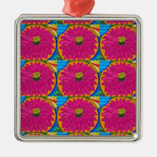 fleur artistique  UNIQUE Flower  by NavinJOSHI Silver-Colored Square Decoration