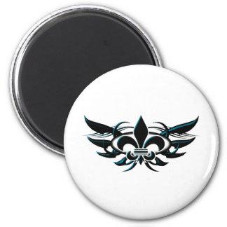 Fleur De Li (wings) 6 Cm Round Magnet