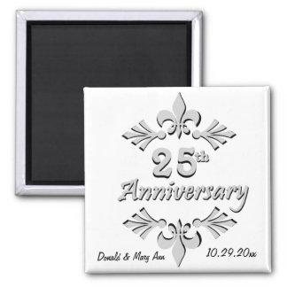 Fleur De Lis 25th Anniversary Party Favors Square Magnet