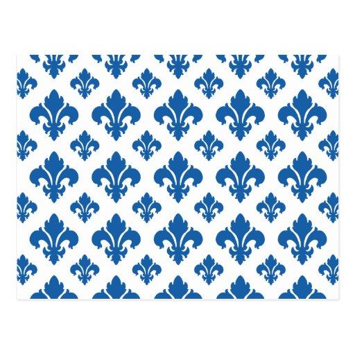 Fleur De Lis 2 Dazzling Blue Postcards