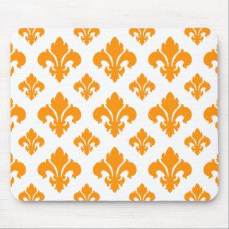 Fleur De Lis 2 Orange Mouse Pads