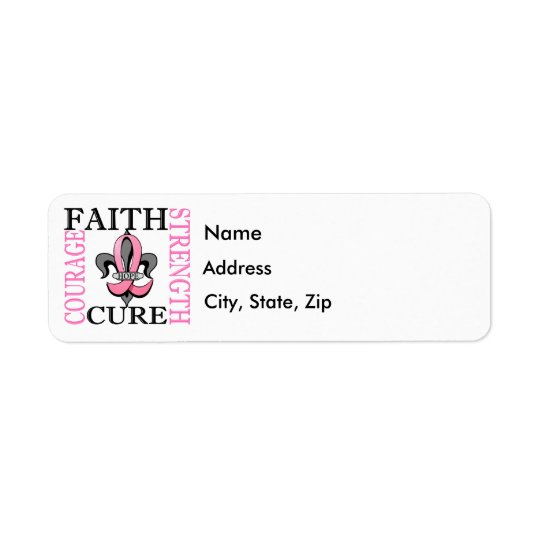 Fleur De Lis 3 Breast Cancer Return Address Label