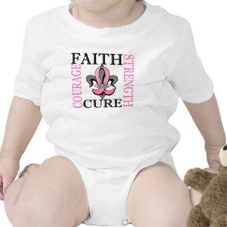Fleur De Lis 3 Breast Cancer Baby Bodysuits