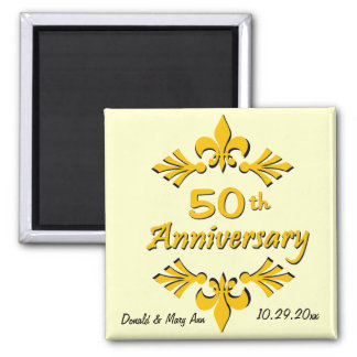 Fleur De Lis 50th Anniversary Party Favors Square Magnet