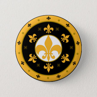 fleur de lis 6 cm round badge