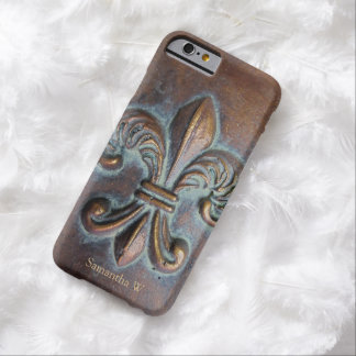 Fleur De Lis, Aged Copper-Look Printed Barely There iPhone 6 Case