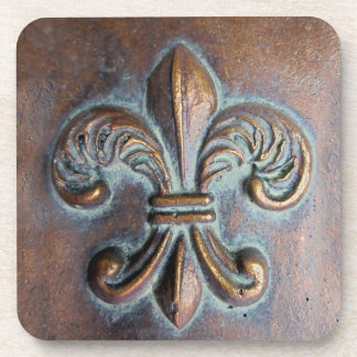 Fleur De Lis, Aged Copper-Look Printed Beverage Coaster
