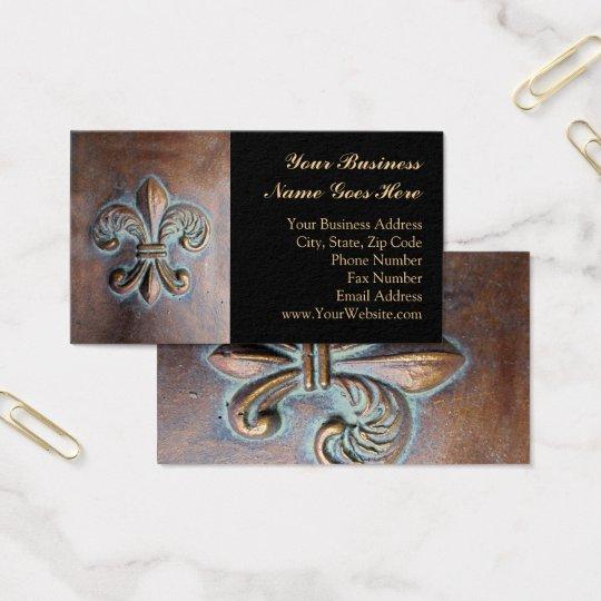 Fleur De Lis, Aged Copper-Look Printed Business Card