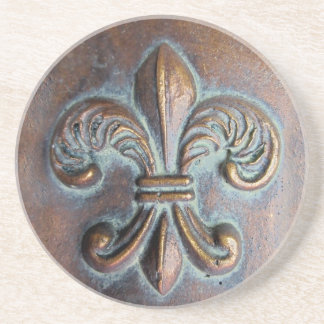 Fleur De Lis, Aged Copper-Look Printed Drink Coasters