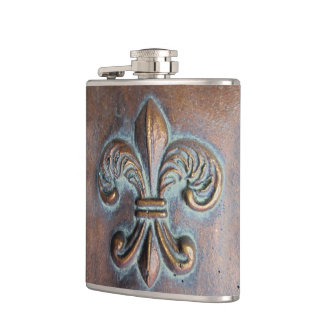 Fleur De Lis, Aged Copper-Look Printed Hip Flask
