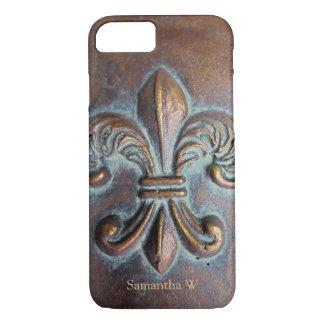 Fleur De Lis, Aged Copper-Look Printed iPhone 7 Case
