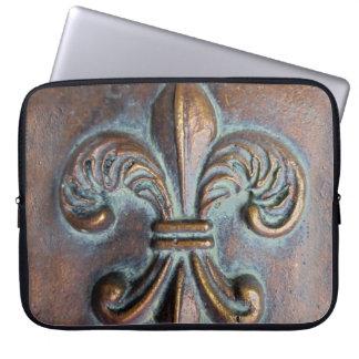 Fleur De Lis, Aged Copper-Look Printed Laptop Sleeve