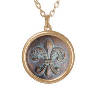 Fleur De Lis, Aged Copper-Look Printed Pendant