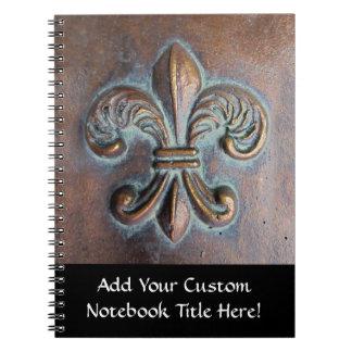 Fleur De Lis, Aged Copper-Look Printed Notebook