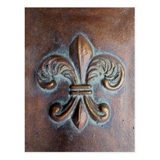 Fleur De Lis, Aged Copper-Look Printed Postcard