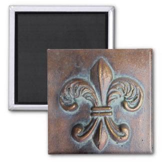 Fleur De Lis, Aged Copper-Look Printed Square Magnet
