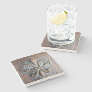 Fleur De Lis, Aged Copper-Look Printed Stone Beverage Coaster