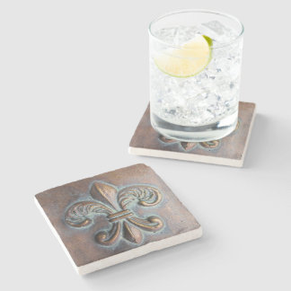Fleur De Lis, Aged Copper-Look Printed Stone Coaster