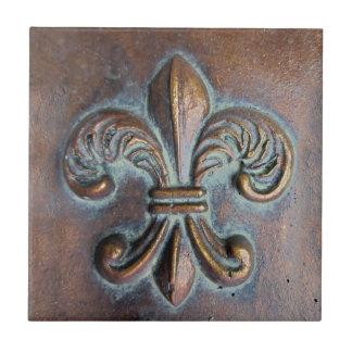Fleur De Lis, Aged Copper-Look Printed Tile