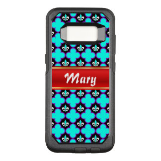 Fleur-de-lis and quatrefoils with stripe for name OtterBox commuter samsung galaxy s8 case