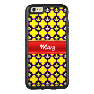 Fleur-de-lis and quatrefoils with stripe for name OtterBox iPhone 6/6s plus case