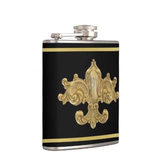 Fleur De Lis Antique Gold Hip Flask