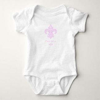 Fleur de Lis bébé™ Baby Bodysuit, White/Pink Baby Bodysuit