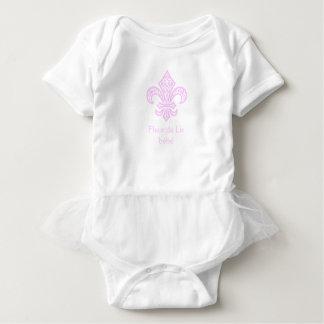 Fleur de Lis bébé™ Tutu Bodysuit, White/Pink Baby Bodysuit