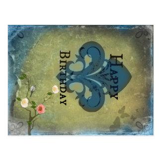 Fleur de Lis Birthday postcard
