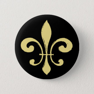 Fleur De Lis,Black and Gold 6 Cm Round Badge