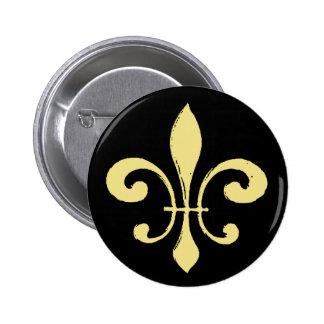Fleur De Lis Black and Gold Buttons