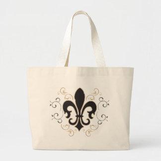 Fleur De Lis: Black and Gold Canvas Bag