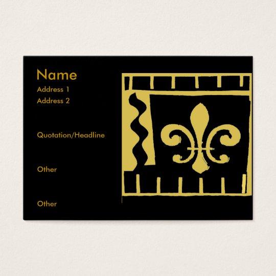 Fleur De Lis Black and Gold Tiles Business Card