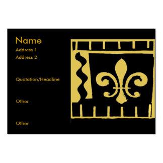 Fleur De Lis Black and Gold Tiles Business Card Template