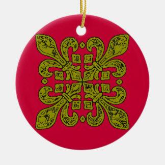Fleur De Lis Black and Gold Tiles Christmas Ornament