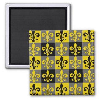 Fleur De Lis Black and Gold Tiles Square Magnet