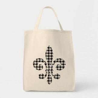 fleur de lis black and natural tote grocery tote bag