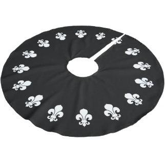 Fleur De Lis Black Brushed Polyester Tree Skirt