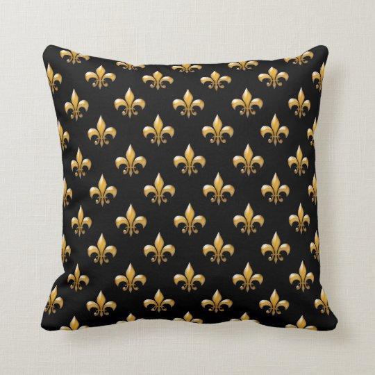 Fleur de Lis Black Gold Pattern Throw Pillows