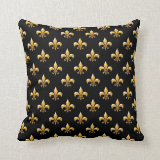 Fleur de Lis Black Gold Pattern Throw Pillows