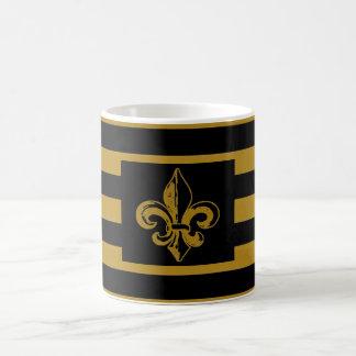 FLEUR DE LIS BLACK & GOLD STRIPED COFFEE MUG