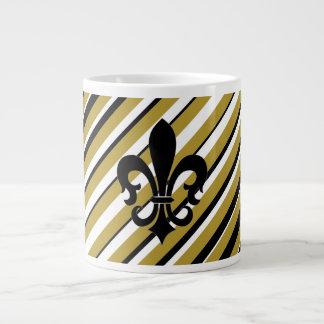 FLEUR DE LIS BLACK & GOLD STRIPED JUMBO COFFEE MUG