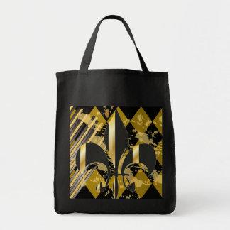 Fleur de Lis/black + gold Bag