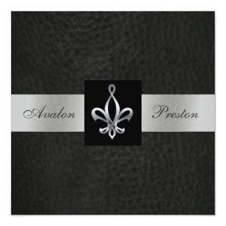 Fleur De Lis Blk Faux Leather Monogram Invitation