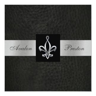 Fleur De Lis Blk Faux Leather Monogram Invitation