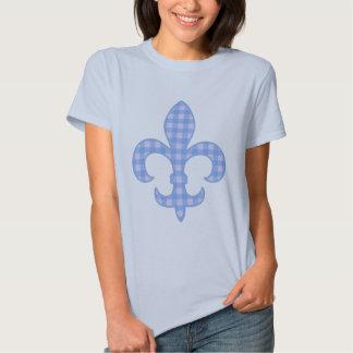 Fleur de lis Blue Gingham t-shirt